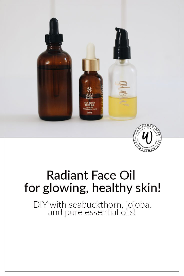 Radiant face oil for glowing, heathy skin! DIY with seabuckthorn, jojoba and pure young living essential oils. Click through to read more, or pin to save for later!
