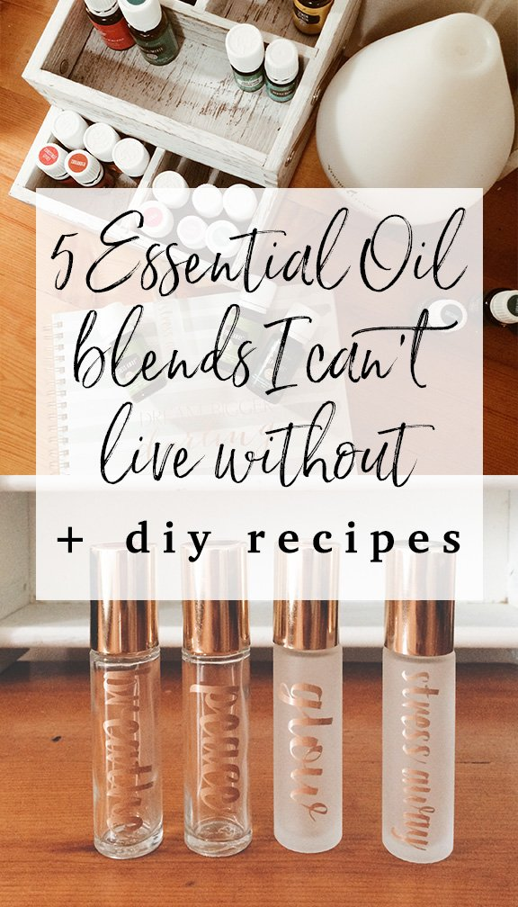 5 Essential Oil Blends I Can't Live Without + How To Make Them!  Including rollers for headache relief, respiratory support, sleep, healthy skin & emotional support.