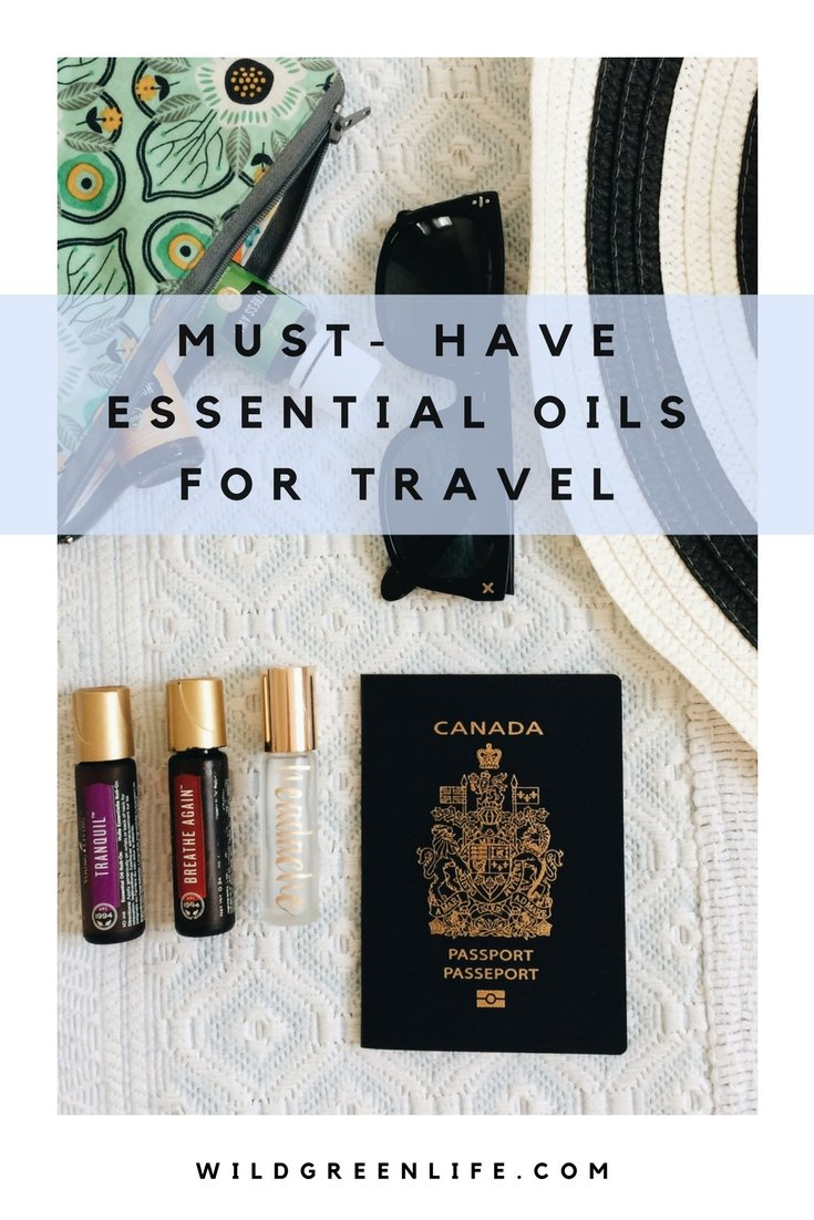 Must have essential oils for traveling! Packing for your next vacation? Don't forget these important essential oils! Click through to read more, or pin to save for later!