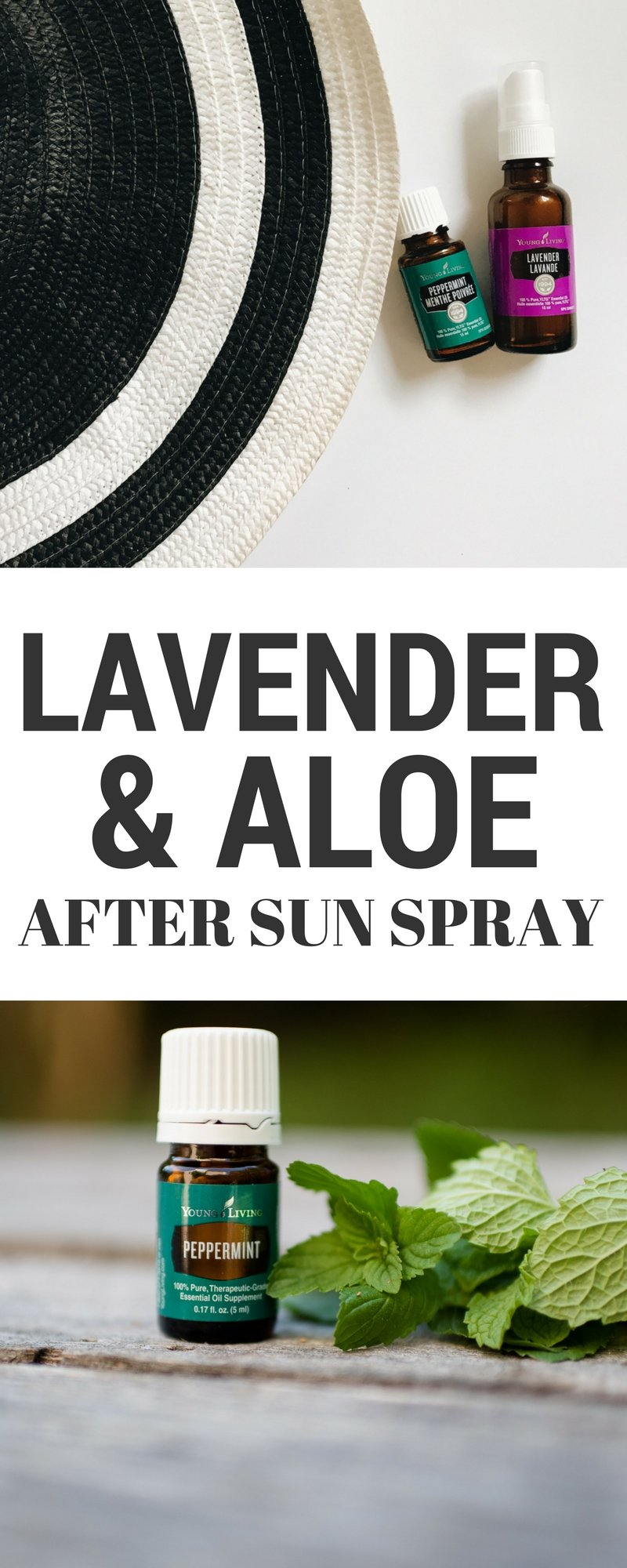 DIY natural lavender and aloe after sun spray with essential oils. Click through to read more, or pin to save for later!
