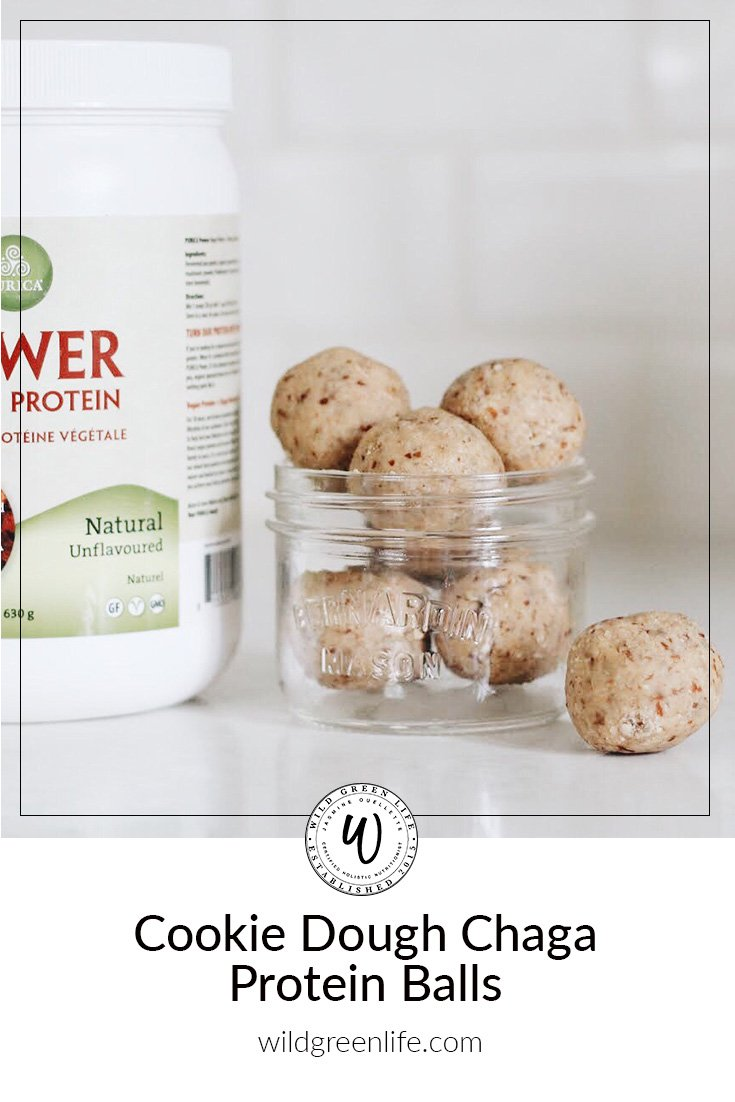 cookie dough chaga protein balls