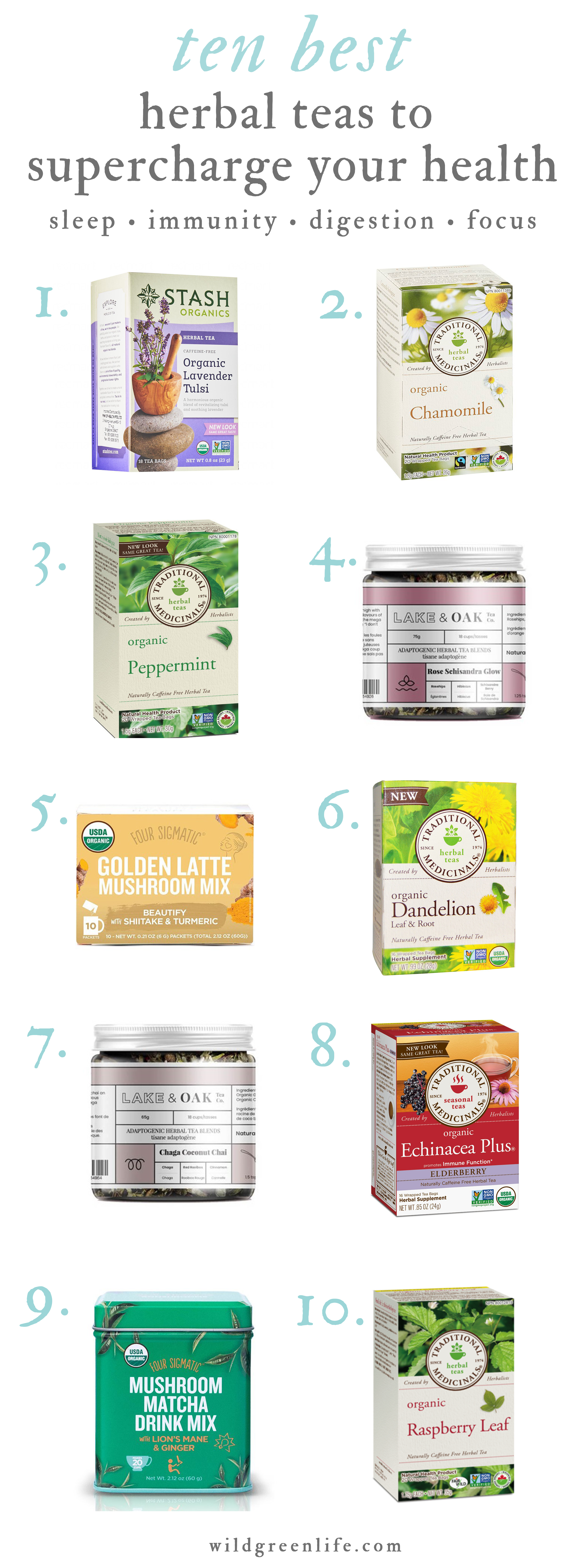 10 wellness teas to supercharge your immune system, digestive health, improve sleep & focus, manage PMS and help you stay warm during this fall & winter season!