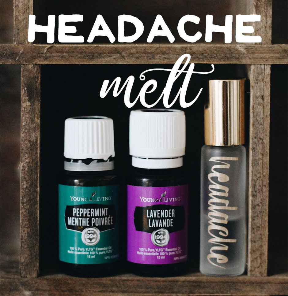 two bottles of essential oils; lavender and peppermint, with 10 ml headache roller bottle