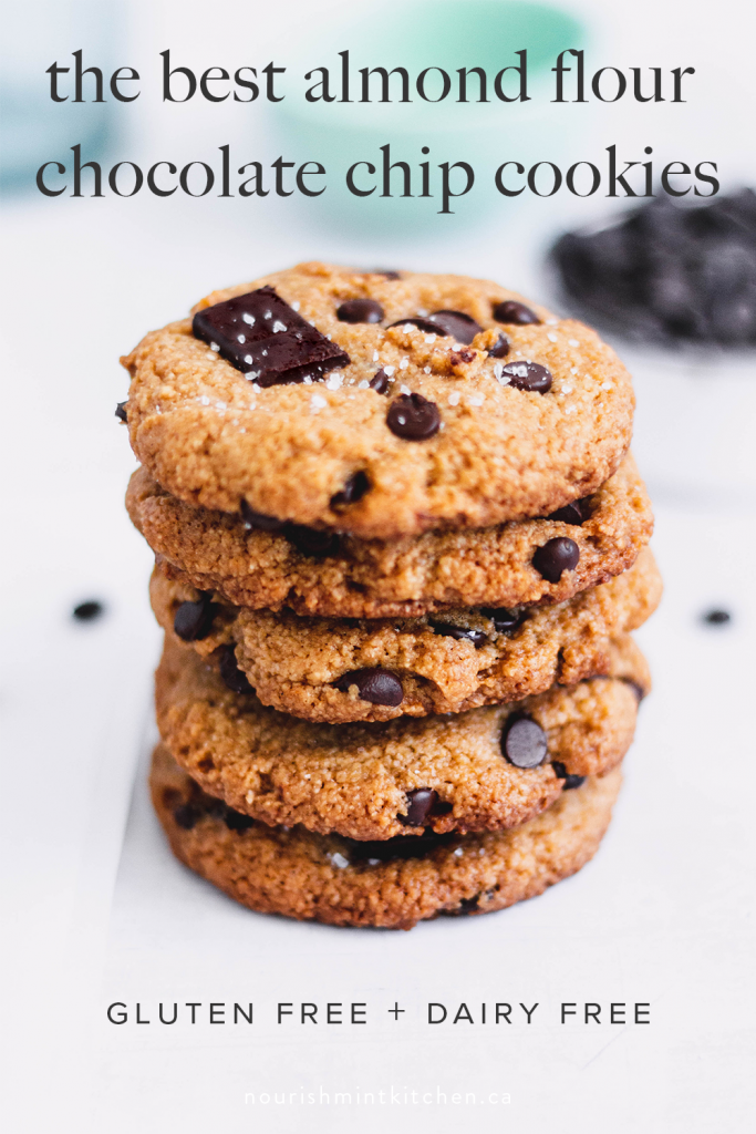 Gluten free almond flour chocolate chip cookies with tahini and sweetened with monk fruit. These delicious cookies are crispy on the outside, but tender inside.