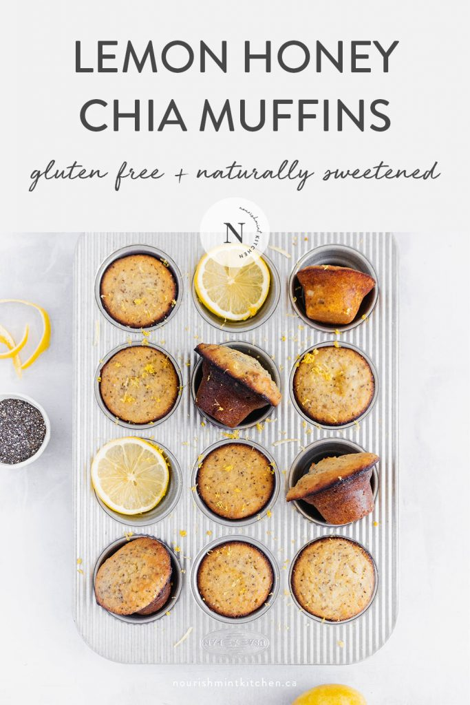 These Healthy Lemon Chia Seed Muffins are gluten free and naturally sweetened with honey. Bursting with zesty lemon flavour, these muffins are a great breakfast of snack that the whole family will love!