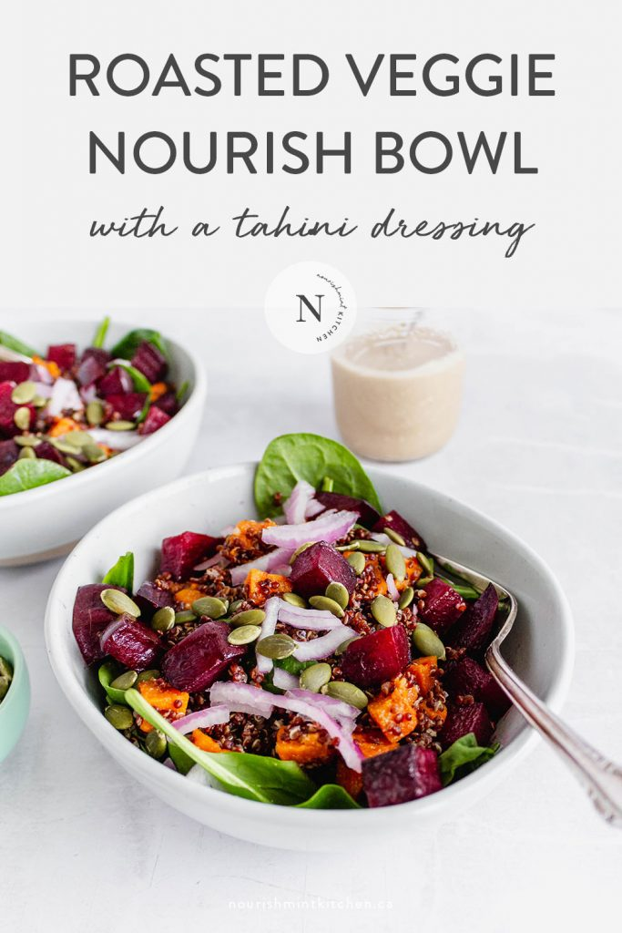 Roasted Veggie Nourish Bowl with a Savoury Tahini Dressing. This easy nutrient-packed dish makes a delicious lunch, or quick week-night dinner.