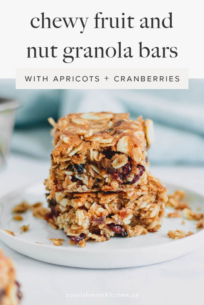 Chewy fruit and nut granola bars, filled with apricots, cranberries, slivered almonds and rolled oats. These granola bars make the perfect snack, or delicious breakfast bar to enjoy with your morning coffee!
