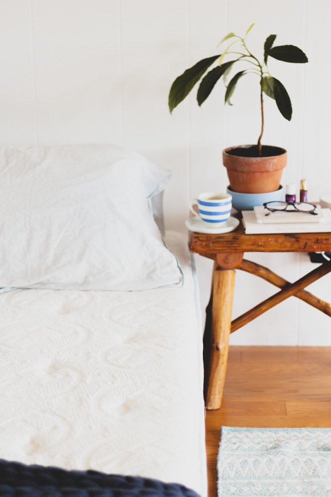 haven pillowtop california mattress with pillows and side table