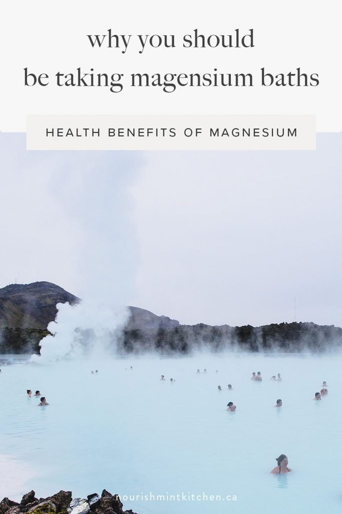 graphic of people bathing in hot spring with text: why you should be taking magnesium baths