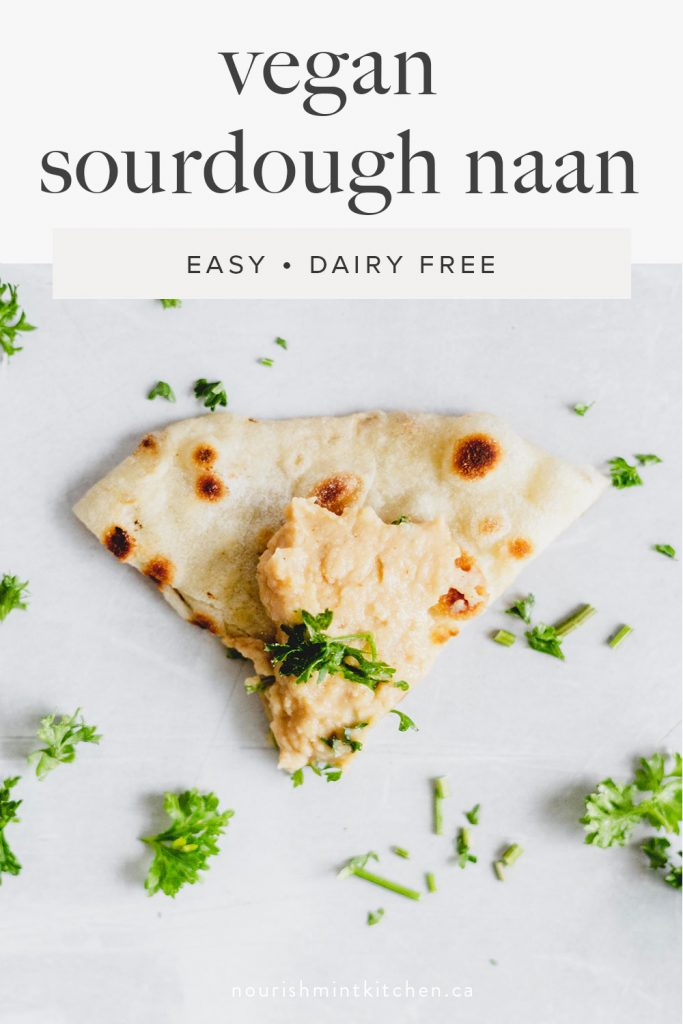 This vegan sourdough naan is a great sourdough recipe for beginners! It's easy, delicious, and only takes a few hours to ferment. This is a great way to use up sourdough discard!